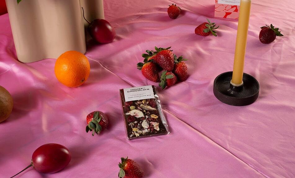 Freeze Dried Fig, Cherry & Pistachio Dark Chocolate Bar