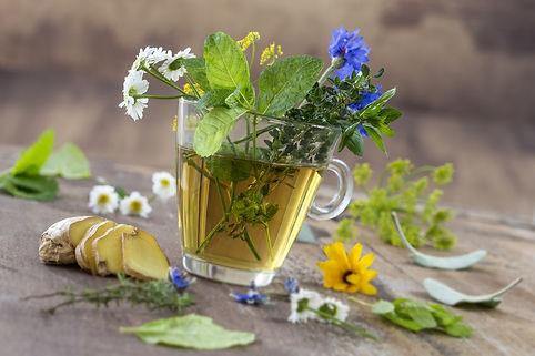 Various dried meadow herbs and herbal te