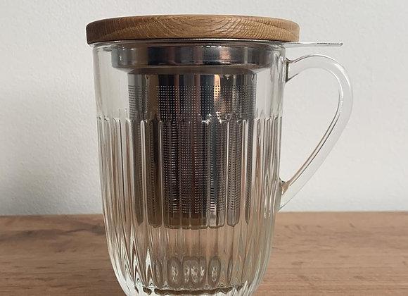 Thee tas glas/hout met fijn, stevig vergietje en deksel