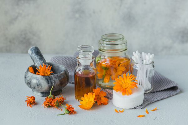 A bottle of pot marigold tincture or inf