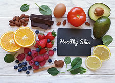 Foods for healthy glowing skin. Assortme