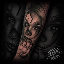 clown girl joker graffiti tattoo