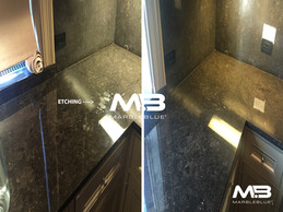This kitchen Marble countertop had many etch marks and surface stains. MarbleBLUE eliminated and repaired the Marble with a light sanding to create a factory finish. No coating or wax was applied. We polished the Marble to a natural factory finish that will out perform any product on the market.