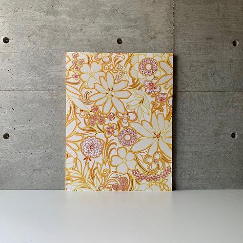 P-1 ヴィンテージ/白にオレンジ、ピンクの花柄(50x65cm)