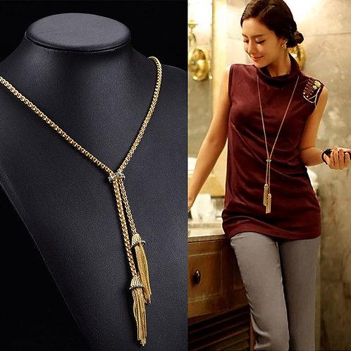 Tassel Rhinestone Long Chain Sweater Necklace