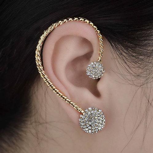 Gold Plated Rhinestone Ear Cuff