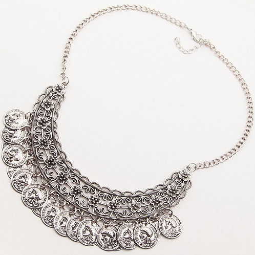Bohemian Coin Charm Bib Statement Necklace