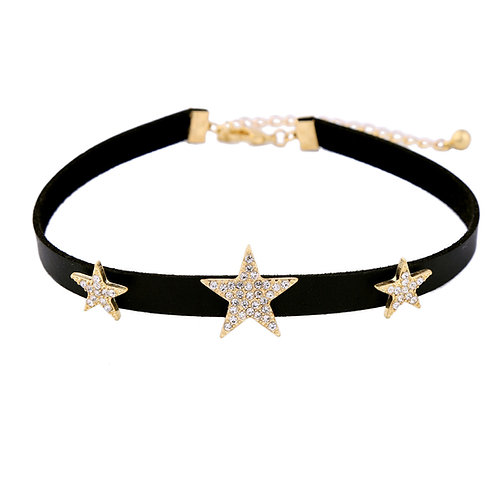 Shining Starz Crystal And Leather Choker