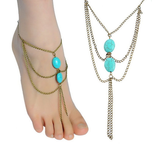 Bohemian Turquoise Toe Ring Anklet