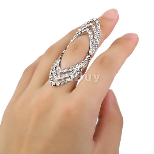 Silver Crystal Knuckle Ring