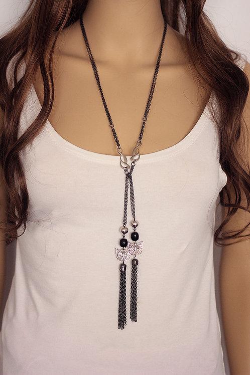 Black Butterfly Tassel Necklace