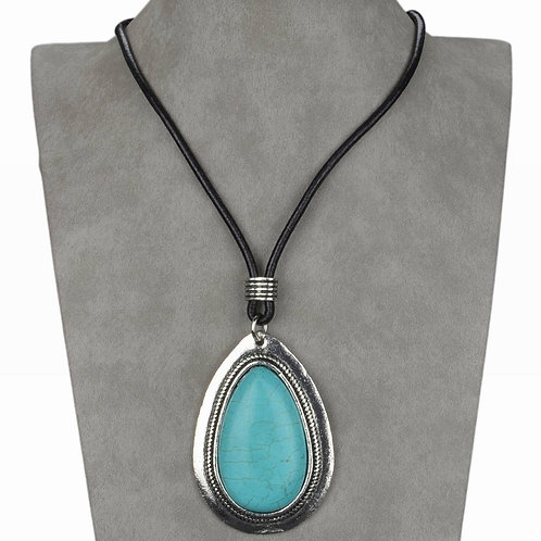 Turquoise Teardrop Tribal Necklace