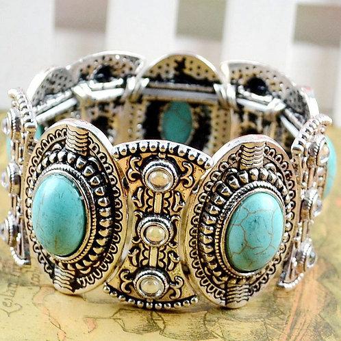 Retro Natural Turquoise Tibetan Silver Bracelet