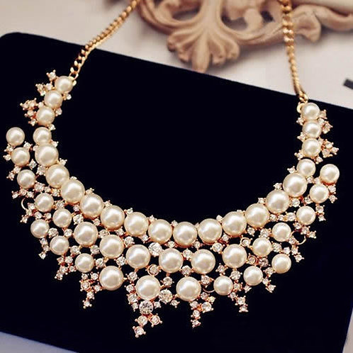 Multilayer Pearl Crystal Collar Necklace