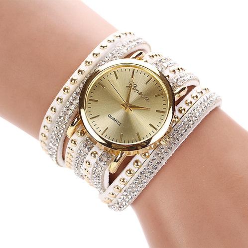 Multilayer Leather Band Rivets Bracelet Watch