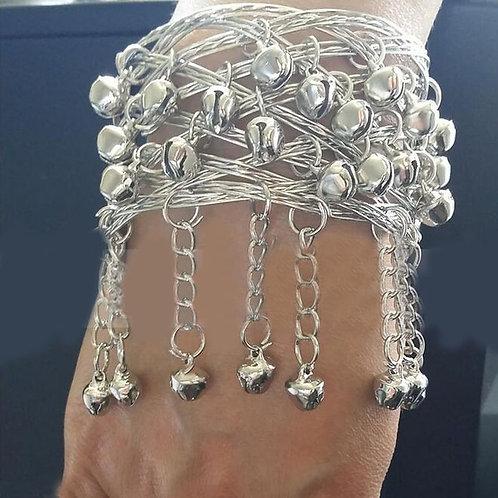 Silver Tone Bell Tassels Cuff Armlet
