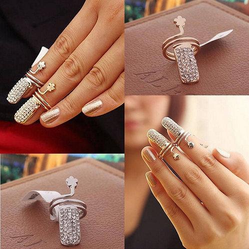 Crystal Tip Finger Band Nail Art Ring