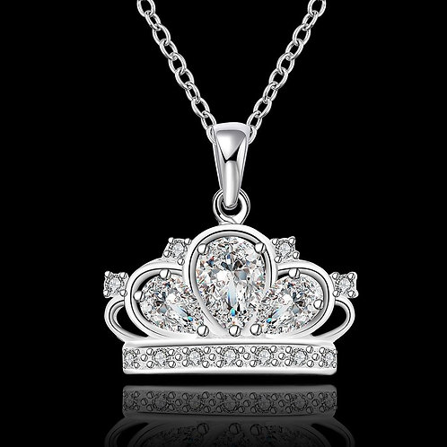 925 Sterling Silver Plated Crown Necklace