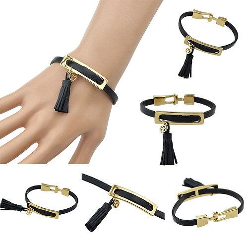 Leather Gold Metal Tassel Bracelet
