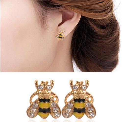 Rhinestone Bumble Bee Crystal Earrings