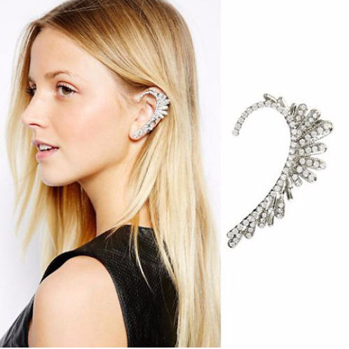 Crystal Silver Ear Cuff