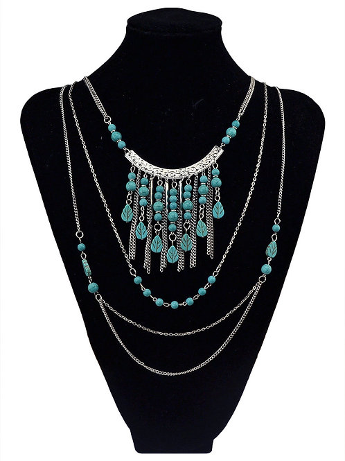 Bohemia Silver Plated Turquoise Tassel Necklace
