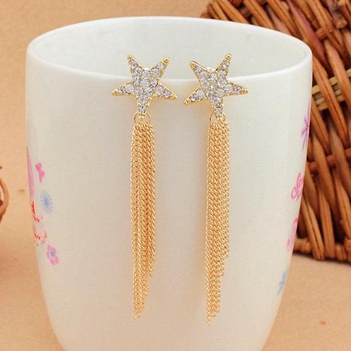 Shining Stars Gold Tassel Earrings