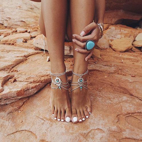 Bohemian Silver Chain Turquoise Anklet