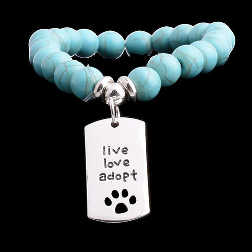 Paws Dog Tags Turquoise Prayer Beads Bracelet