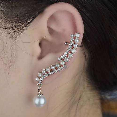 Silver Stunning Plated Pearl Crystal Cuff Earring