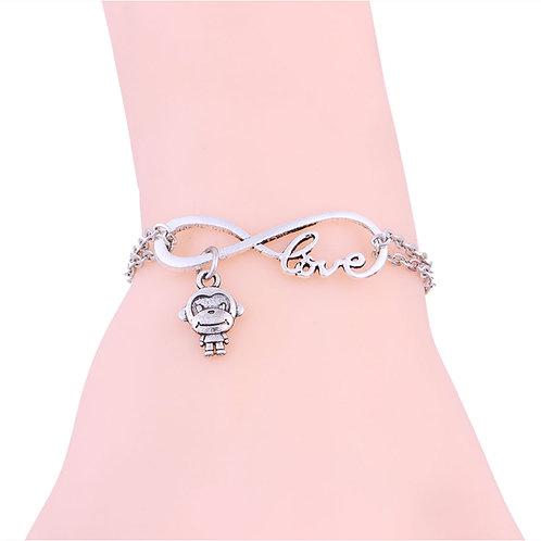 One Monkey Don't Stop No Show Silver Love Bracelet