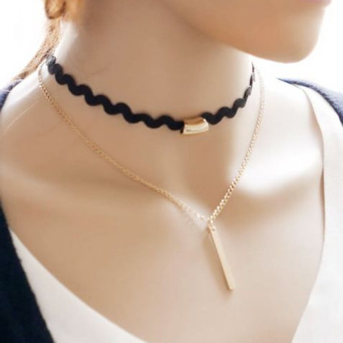 Ladies Gothic Black and Gold Choker