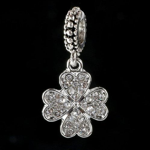 Silver Clover CZ Charm Beads