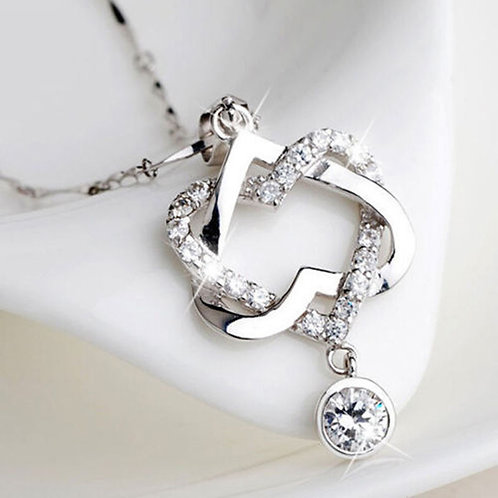 925 Sterling Silver Double Heart Necklace