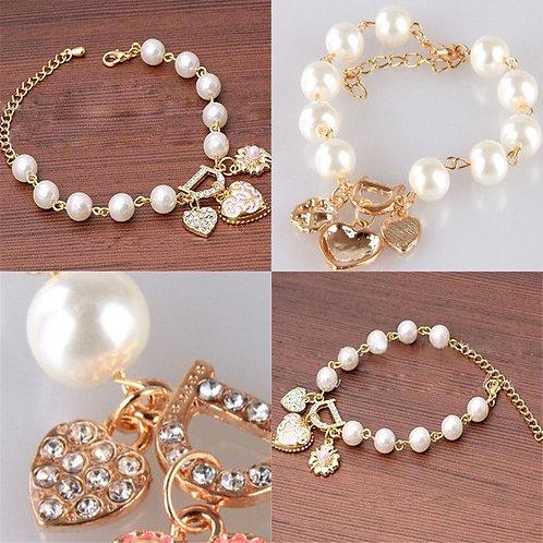 Simulated Pearls Crystal Rhinestone Heart Bangle