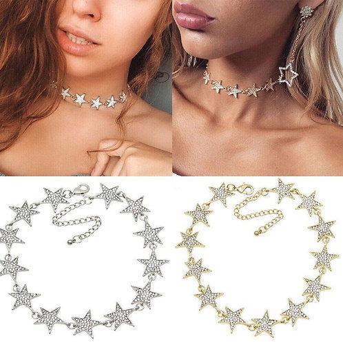 Shining Starz Pendant Choker Necklace