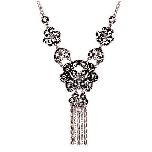 Boho Long Tassel Pendant Statement Necklace
