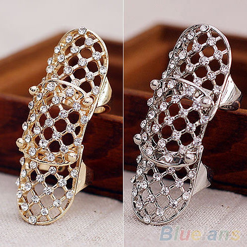Hollow Rhinestone Alloy Finger Knuckle Ring