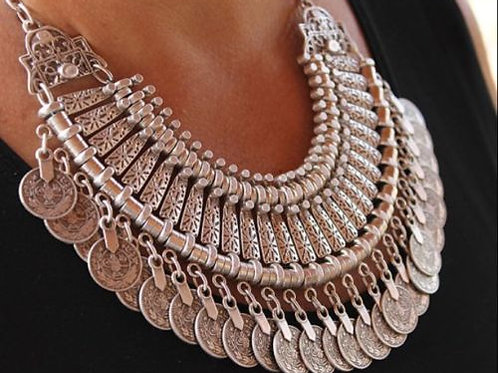 Bohemian Style Fringe Coin Necklace
