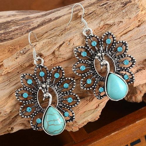 Boho Turquoise Rhinestone Peacock Earrings