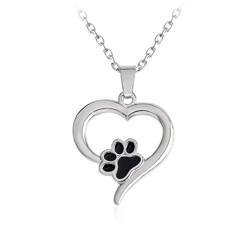 Silver Pet Lover Heart Necklace