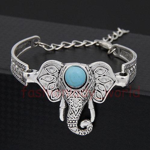 Turquoise Elephant Totem Cuff Bracelet