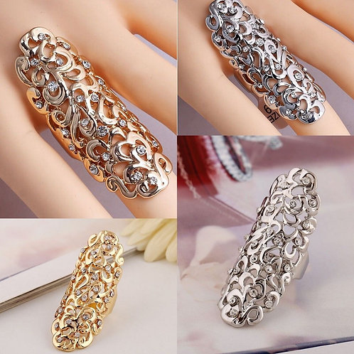 Crystal Flower Long Full Finger Knuckle Ring