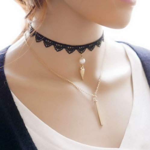 Black Metal and Pearl Retro Choker