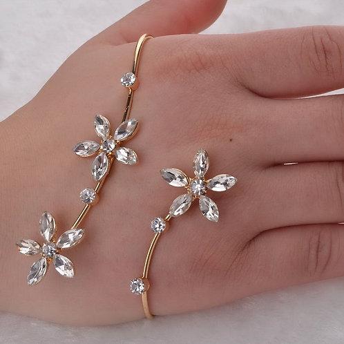 Flower Clear Crystal Palm Bracelet