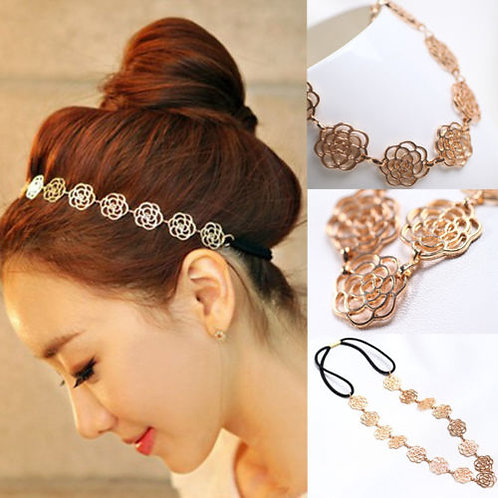 Hollow Rose Flower Headband