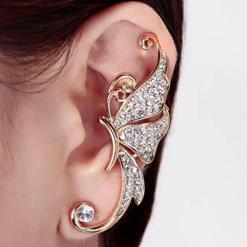 Rhinestone Crystal Butterfly Ear Cuff