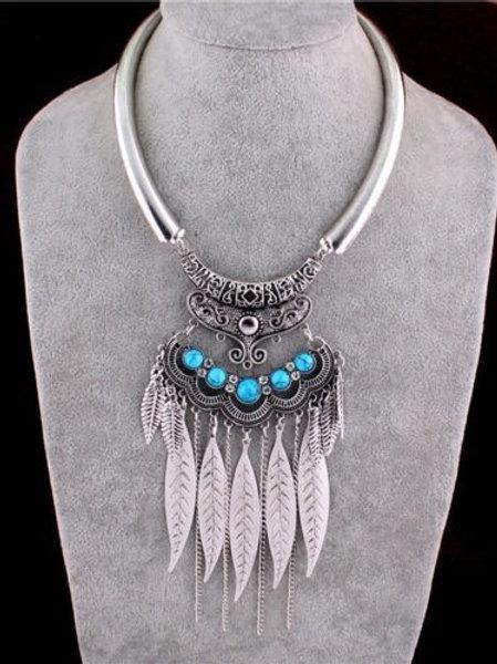Silver Leaf Turquoise Pendant Bib Necklace