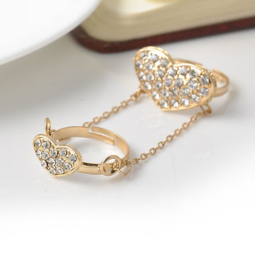 Gold Heart Double Finger Knuckle Ring