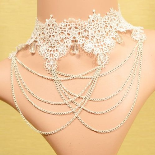 Elegant White Beads Multilayer Lace Necklace